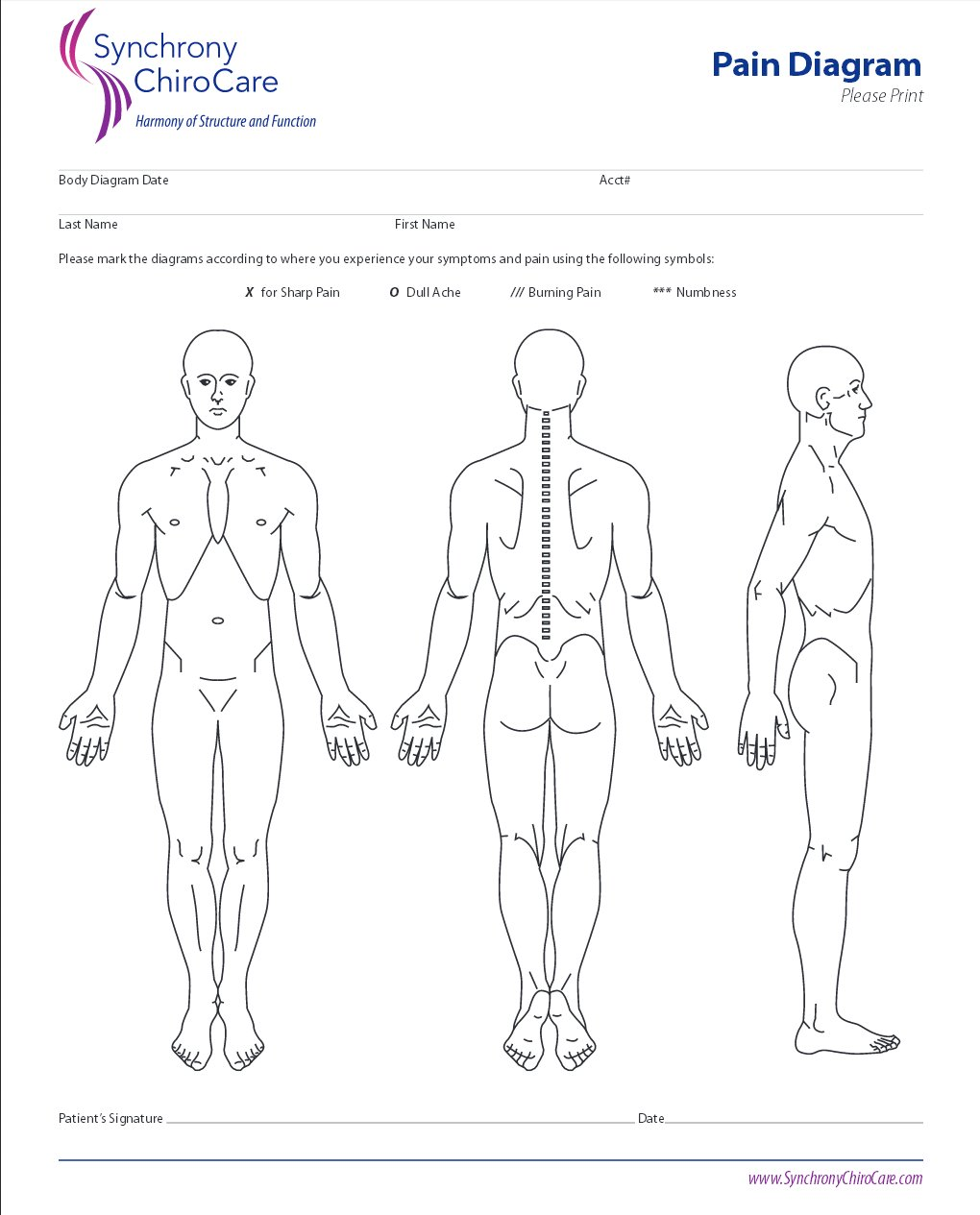 Synchrony ChiroCare Pain Diagram Form